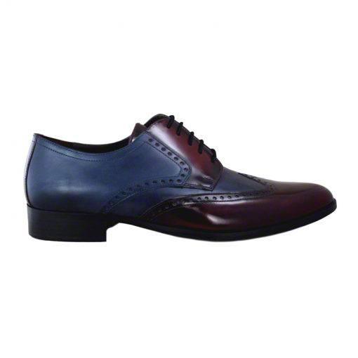 Pantofi piele bordo bleumarin, pentru barbati, cu talpa din piele-1383E-I