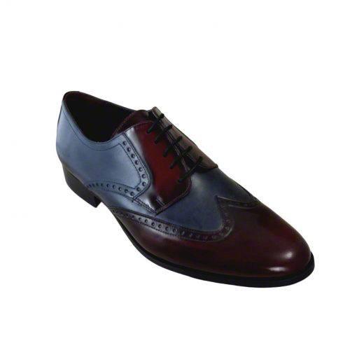 Pantofi piele bordo bleumarin, pentru barbati, cu talpa din piele-1383E-II
