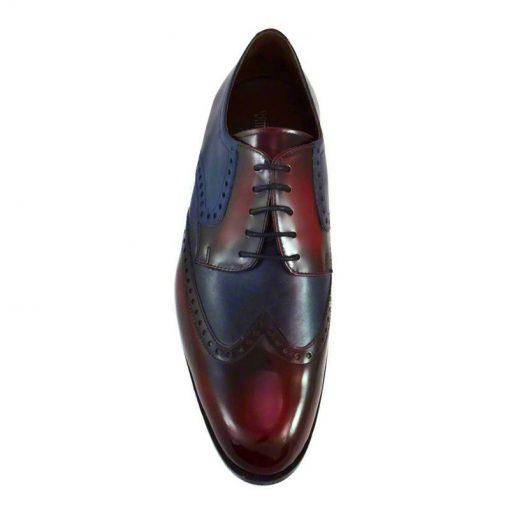 Pantofi piele bordo bleumarin, pentru barbati, cu talpa din piele-1383E-III