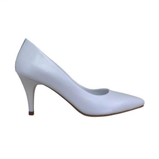 Pantofi stiletto din piele alb sidef, cu toc subtire de 7 cm-1521T-I