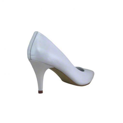 Pantofi stiletto din piele alb sidef, cu toc subtire de 7 cm-1521T-III