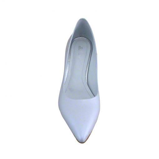 Pantofi stiletto din piele alb sidef, cu toc subtire de 7 cm-1521T-IV