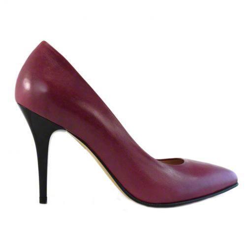 Pantofi stiletto din piele bordo nappa, cu toc de 9 cm-794T-I
