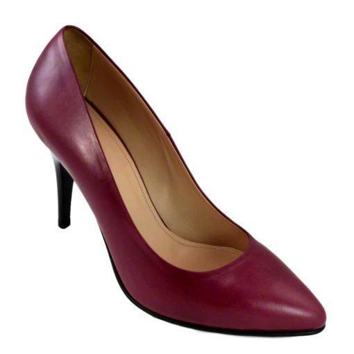 Pantofi stiletto din piele bordo nappa, cu toc de 9 cm-794T-II