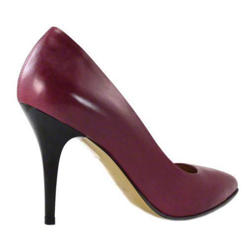 Pantofi stiletto din piele bordo nappa, cu toc de 9 cm-794T-III