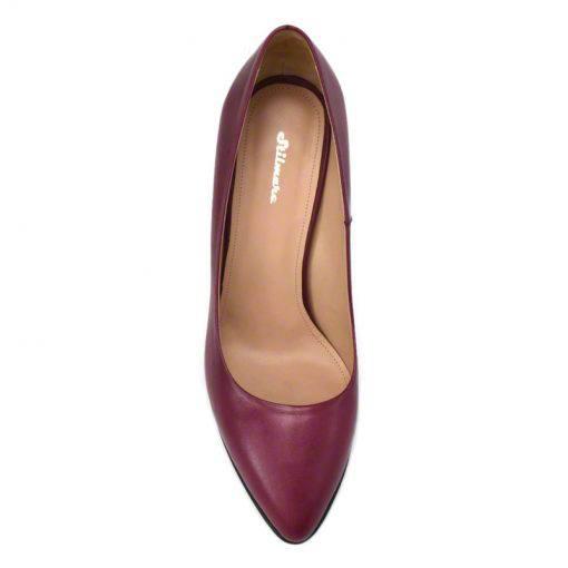 Pantofi stiletto din piele bordo nappa, cu toc de 9 cm-794T-IV
