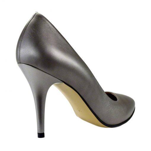 Pantofi stiletto din piele gri nappa, cu toc de 9 cm-794T-III
