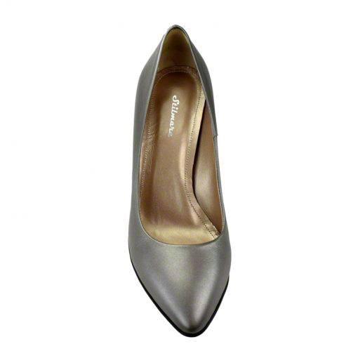 Pantofi stiletto din piele gri nappa, cu toc de 9 cm-794T-IV