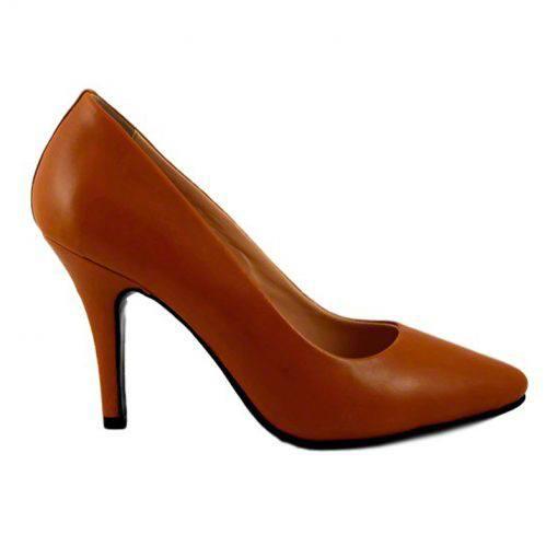 Pantofi stiletto din piele maro cognac, cu toc de 9 cm-794T-I