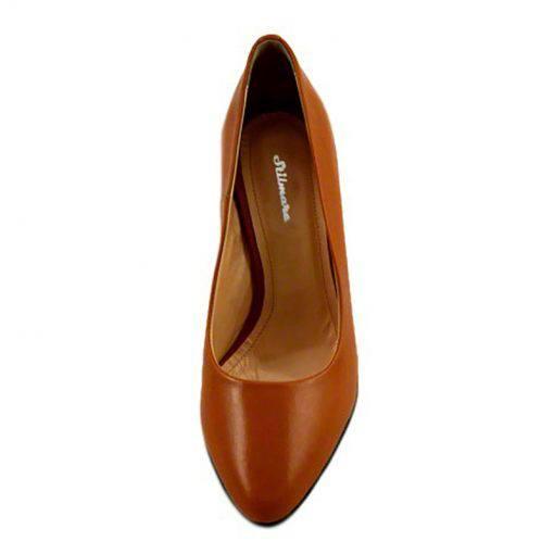 Pantofi stiletto din piele maro cognac, cu toc de 9 cm-794T-II