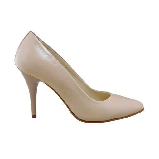 Pantofi stiletto din piele nude, cu toc de 9 cm-794T-I