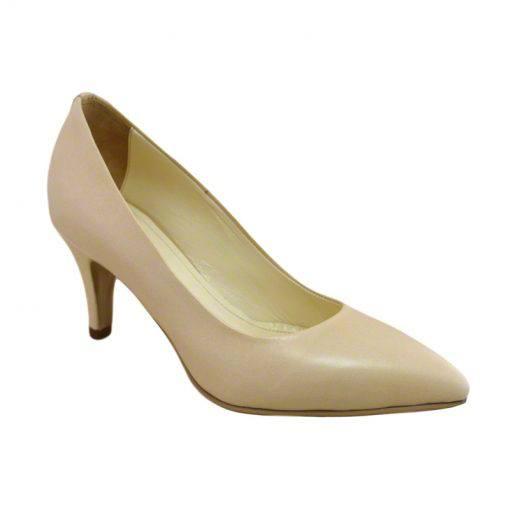 Pantofi stiletto din piele nude, cu toc subtire de 7 cm-1521T-II