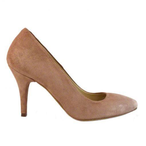 Pantofi stiletto din piele roz velour, cu toc de 9 cm-794T-I