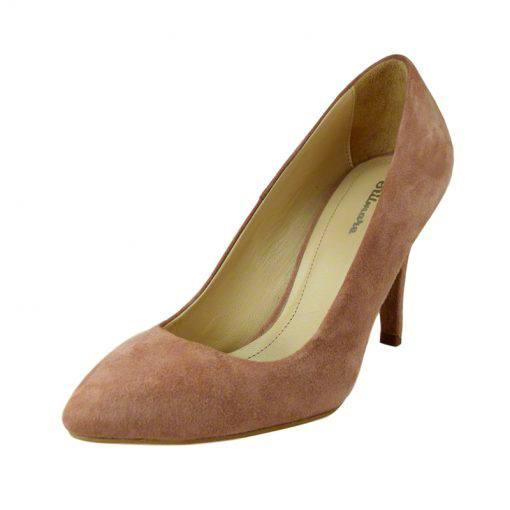 Pantofi stiletto din piele roz velour, cu toc de 9 cm-794T-II