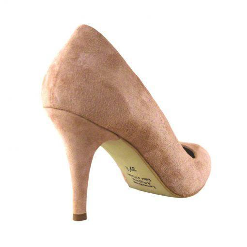 Pantofi stiletto din piele roz velour, cu toc de 9 cm-794T-III