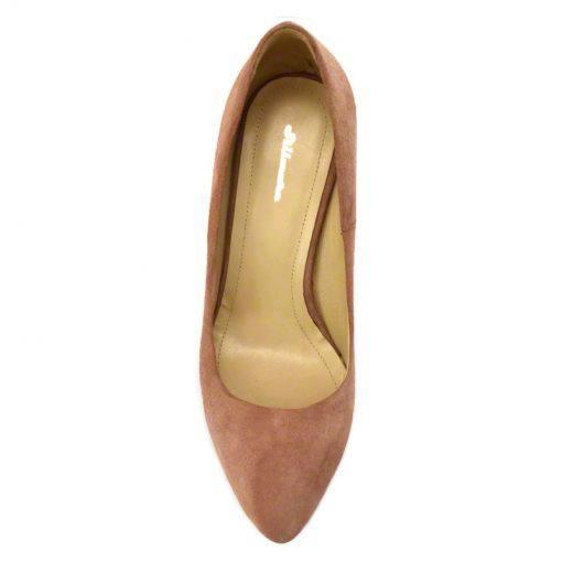 Pantofi stiletto din piele roz velour, cu toc de 9 cm-794T-IV