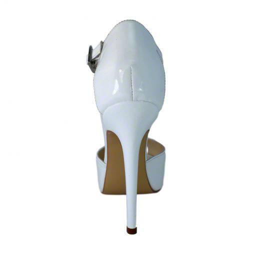 Sandale din piele alb lac, cu platforma, cu toc de 12 cm-257PST-III