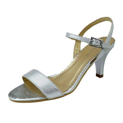 Sandale din piele argint picatele, cu toc de 7 cm-420ST-II