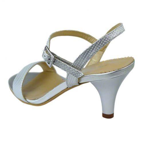 Sandale din piele argint picatele, cu toc de 7 cm-420ST-III