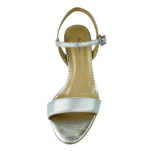 Sandale din piele argint picatele, cu toc de 7 cm-420ST-IV