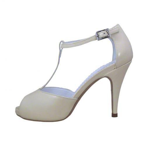 Sandale din piele crem nappa