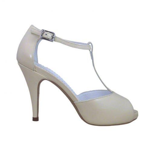 Sandale din piele crem nappa, cu platforma, cu toc de 9 cm-514PST-I