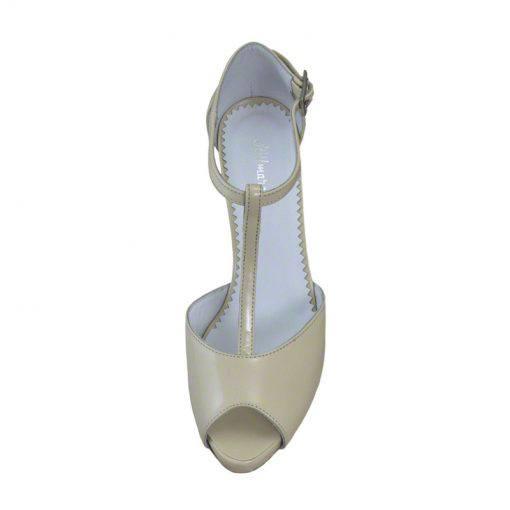 Sandale din piele crem nappa, cu platforma, cu toc de 9 cm-514PST-IV