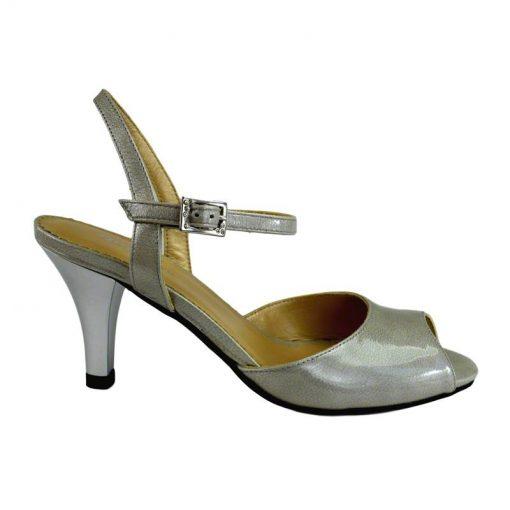 Sandale din piele gri lac, cu toc de 7 cm-420ST-I
