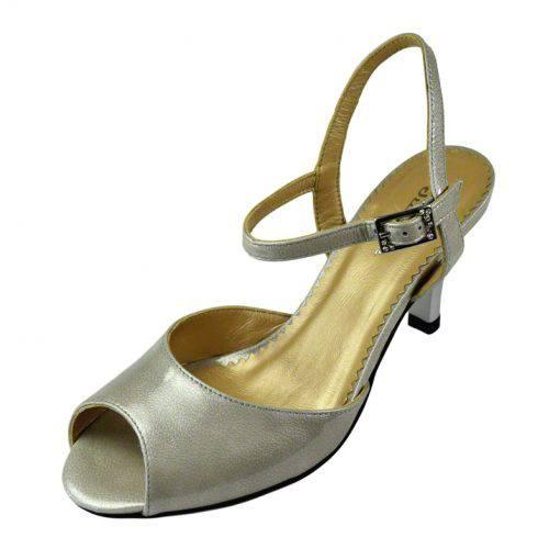 Sandale din piele gri lac, cu toc de 7 cm-420ST-II