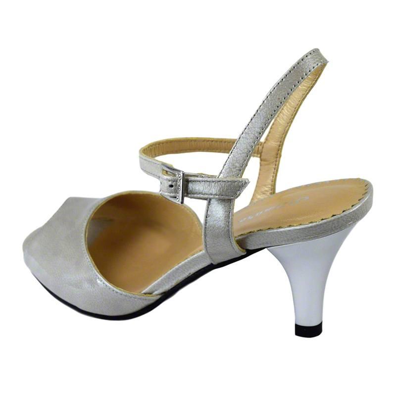 Sandale din piele gri lac, cu toc de 7 cm-420ST-III