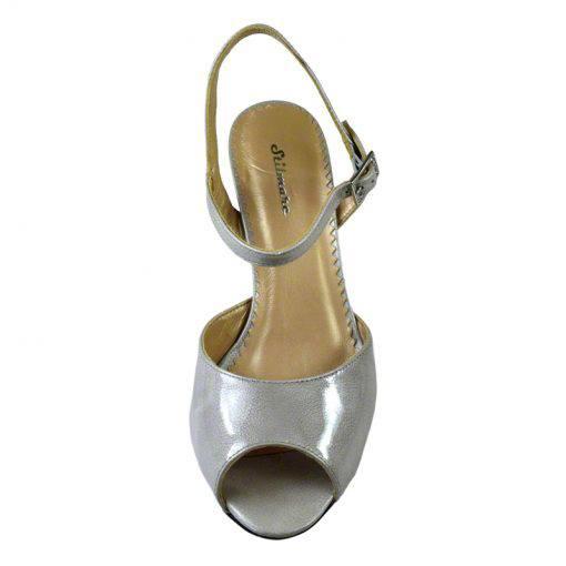 Sandale din piele gri lac, cu toc de 7 cm-420ST-IV