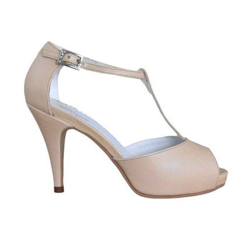 Sandale din piele nude, cu platforma, cu toc de 9 cm-514PST-I
