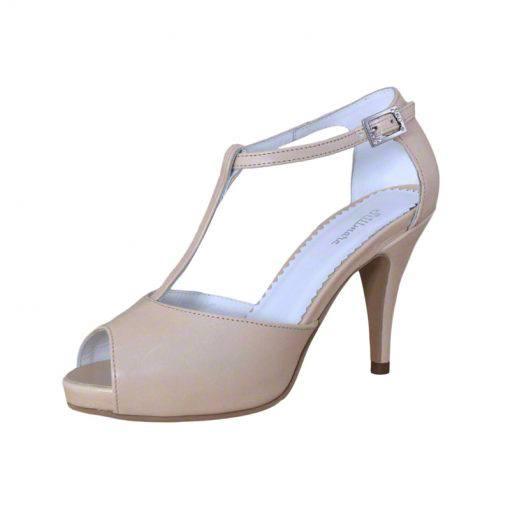 Sandale din piele nude, cu platforma, cu toc de 9 cm-514PST-II