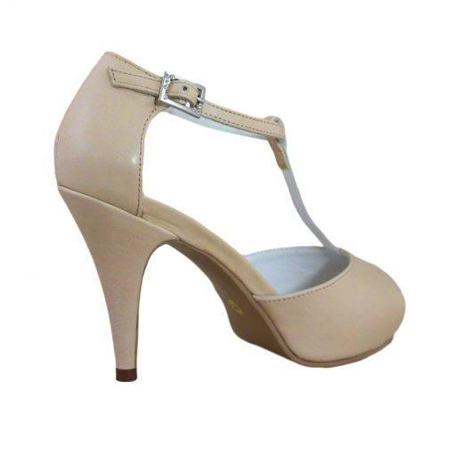 Sandale din piele nude, cu platforma, cu toc de 9 cm-514PST-III