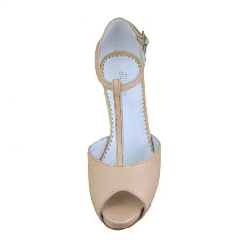 Sandale din piele nude, cu platforma, cu toc de 9 cm-514PST-IV